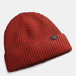 COACH RIB KNIT HAT - RUST - F85140