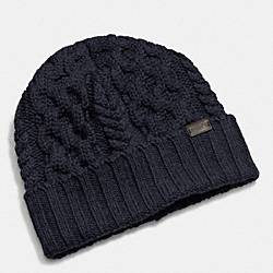 COACH FISHERMEN CABLE KNIT HAT - NAVY - F85143