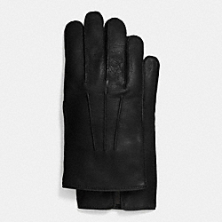 COACH LEATHER GLOVE WITH CASHMERE BLEND LINING - BLACK - F85144