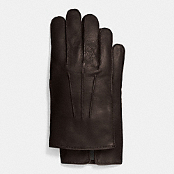 COACH LEATHER GLOVE WITH CASHMERE BLEND LINING - MAHOGANY - F85144