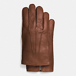 COACH LEATHER GLOVE WITH CASHMERE BLEND LINING - SADDLE - F85144