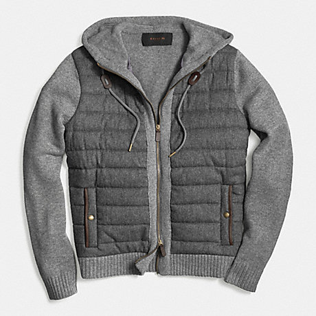 COACH PULLER KNIT HOODIE - GRAY - f85155