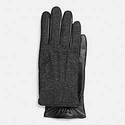 COACH WOOL AND LEATHER TECH GLOVE - CHARCOAL - F85157