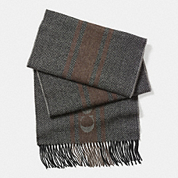 COACH HERRINGBONE STRIPE WOVEN SCARF - CHARCOAL - F85231