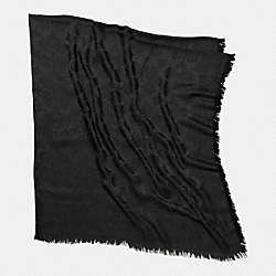 SIGNATURE C JACQUARD OVERSIZED SQUARE SCARF - BLACK - COACH F85261