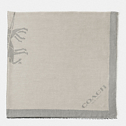 COACH HORSE AND CARRIAGE JACQUARD OVERSIZED SQUARE SCARF - IVORY/GREY - F85264
