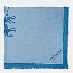 COACH HORSE AND CARRIAGE JACQUARD OVERSIZED SQUARE SCARF - PALE BLUE - F85264