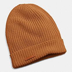 COACH MERINO KNIT HAT - CAMEL - F85280