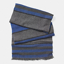 COACH WOOL CASHMERE BLANKET STRIPE SCARF - GRAY/BLUE - F85299