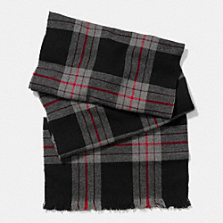COACH WOOL BOX PLAID SCARF - BLACK - F85300