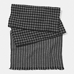 COACH WOOL HOUNDSTOOTH SCARF - GRAY - F85301