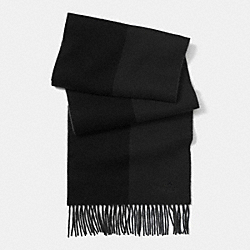 COACH CASHMERE SPLIT STRIPE SCARF - BLACK - F85308