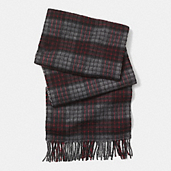 CASHMERE GRID PLAID SCARF - GRANITE - COACH F85312