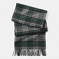COACH CASHMERE GRID PLAID SCARF - GRAY - F85312