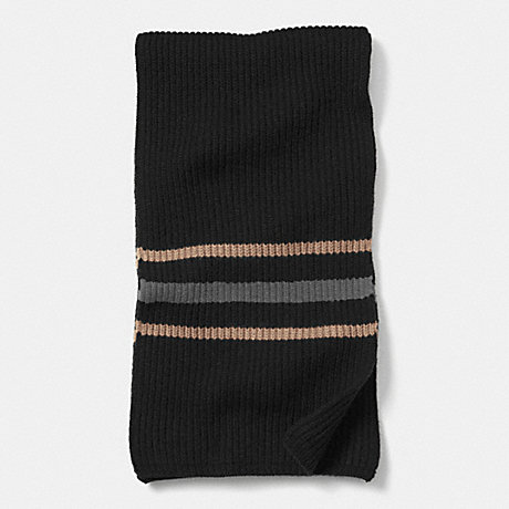 COACH CASHMERE MULTI STRIPE RIBBED SCARF - BLACK/CAMEL - f85315