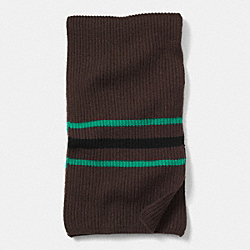 CASHMERE MULTI STRIPE RIBBED SCARF - BROWN/GREEN - COACH F85315