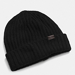 COACH CASHMERE SOLID KNIT HAT - BLACK - F85318