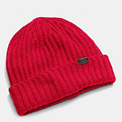 COACH CASHMERE SOLID KNIT HAT - CHERRY - F85318