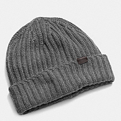 COACH CASHMERE SOLID KNIT HAT - GRAY - F85318