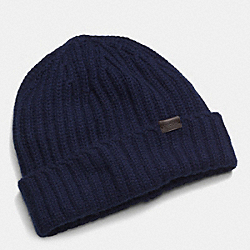 COACH CASHMERE SOLID KNIT HAT - NAVY - F85318