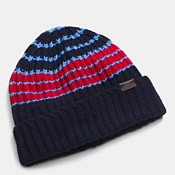 COACH CASHMERE VARIEGATED STRIPE RIB HAT - NAVY/RED - F85319