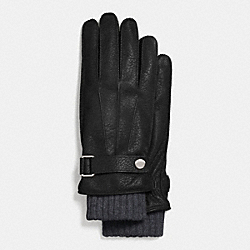 COACH EMBOSSED LEATHER 3-IN-1 GLOVE - BLACK - F85325
