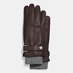 COACH EMBOSSED LEATHER 3-IN-1 GLOVE - MAHOGANY - F85325