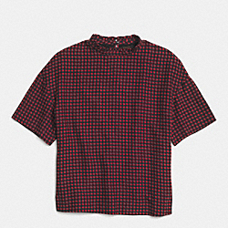 HOUNDSTOOTH RUFFLE NECK T-SHIRT - f85517 - RED/BLACK