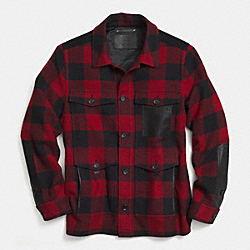 PLAID WOOL SHIRT JACKET - RED/BLACK - COACH F85532