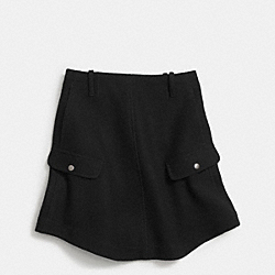 WOOL ROUND HEM SKIRT - BLACK - COACH F85549