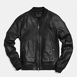 COACH LEATHER AVIATOR JACKET - BLACK - F85634