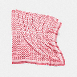 DISTRESSED SIGNATURE C OVERSIZED SQUARE SCARF - f85652 - ROSE
