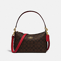 LEWIS SHOULDER BAG IN SIGNATURE CANVAS - IM/BROWN TRUE RED - COACH F85696