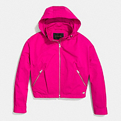 COACH ZIP HOODED WINDBREAKER - PINK RUBY - F85731