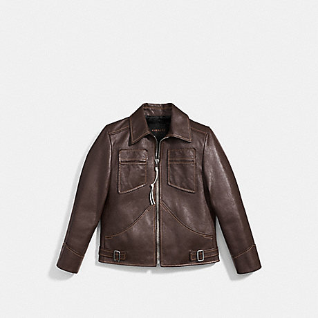 COACH LEATHER MOD JACKET - VINTAGE BROWN - f85778