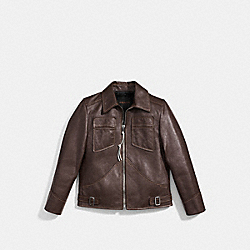 LEATHER MOD JACKET - f85778 - VINTAGE BROWN