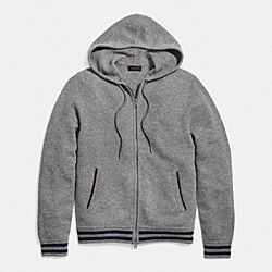 COACH BASEBALL ZIP HOODY - LIGHT GREY - F85835
