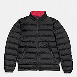 COACH PACKABLE DOWN JACKET - BLACK/RED - F85837