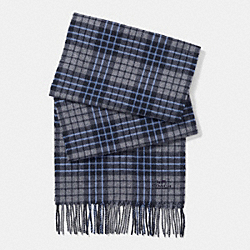 COACH CASHMERE BLEND PLAID SCARF - GRAY/NAVY - F85851