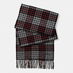 COACH CASHMERE BLEND PLAID SCARF - RED/GREY - F85851