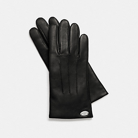 COACH BASIC LEATHER GLOVE - BLACK - f85876