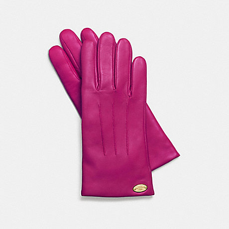 COACH BASIC LEATHER GLOVE - CRANBERRY - f85876
