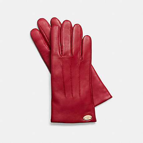 COACH BASIC LEATHER GLOVE - IMITATION GOLD/CLASSIC RED - f85876