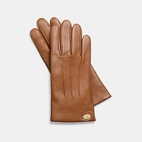 COACH BASIC LEATHER GLOVE - SADDLE - f85876