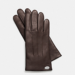 COACH BASIC LEATHER GLOVE - SILVER/MAHOGANY - F85876