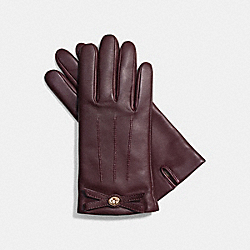 COACH BOW LEATHER GLOVE - SILVER/PLUM - F85929