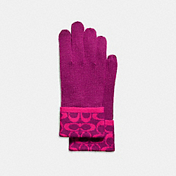 COACH SIGNATURE KNIT TOUCH GLOVE - FUCHSIA - F86026