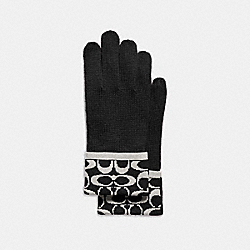 COACH SIGNATURE KNIT TOUCH GLOVE - BLACK PALE GREY - F86026