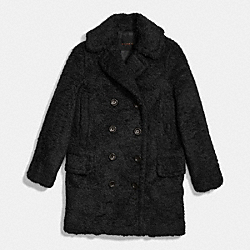 FUZZY COAT - f86032 - BLACK