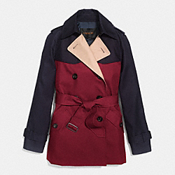 COACH COLORBLOCK SHORT TRENCH - BLACK CHERRY MULTI - F86036